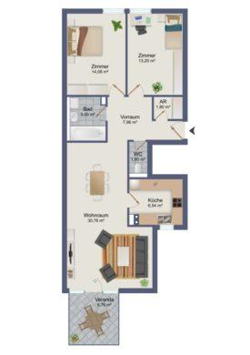 3-Zimmerwohnung mit Veranda im Zentrum von Wörgl, 6300 Wörgl, Etagenwohnung